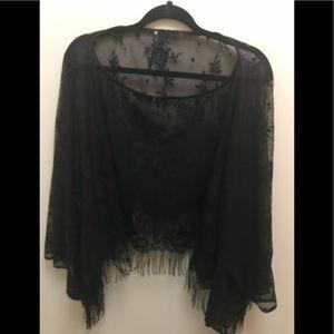 Tops - Black sheer fancy shawl